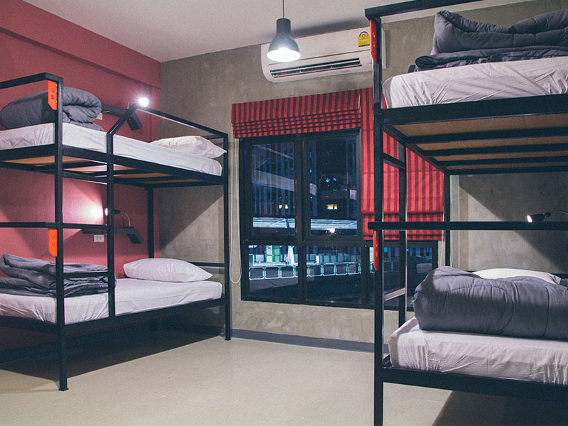 Hostel by bed